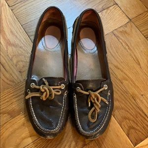 Sperry Top-sider womens brown leather boat shoes 8